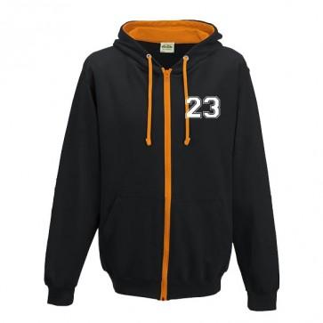 Sweat Zippé Contrasté Noir Orange Coupe Unisexe Petit Logo