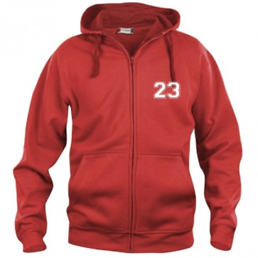 Sweat Zippé Rouge  Coupe Unisexe
