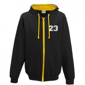 Sweat Zippé Contrasté Noir Jaune Coupe Unisexe Petit Logo
