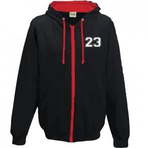 Sweat Zippé Contrasté Noir Rouge Coupe Unisexe Petit Logo